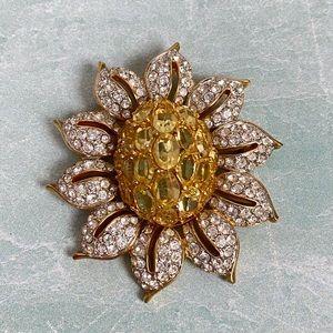 Swarovski Crystal Flower Brooch Stamped Yellow